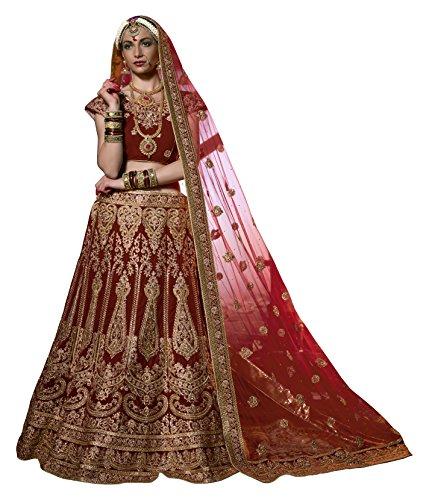 Gajiwala Sarees Women's Velvet Unstitched Lehenga and Choli (Red)