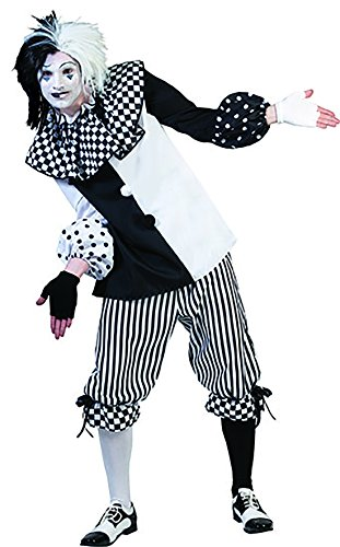 Karnevalsbud - Harlekin Pantomime Schwarz Weiß Clownskostüm mit Kragen für Männer, M, Mehrfarbig (Schwarzen Anzug Kasper Rock)