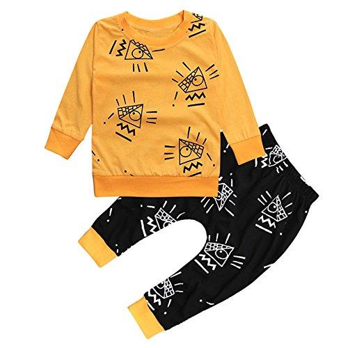 Kinder Unisex Baby 2 Stück Bekleidungsset Herbst,Yanhoo Neugeborenes Baby Jungen Mädchen Elefanten Gestreift Print T-Shirt Tops Set Casaul Kleidung (80, Gelb-1) - Jungen 3 Stück Schlafanzüge