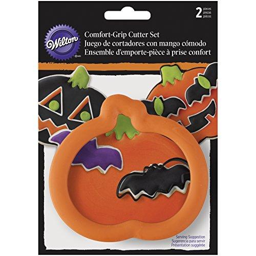 Wilton Ausstechformen für Kekse, Kürbis und Fledermaus, Halloween-Set, aus Stahl, Mehrfarbig, 2-teiliges Set (Wilton Griff Ausstechformen)