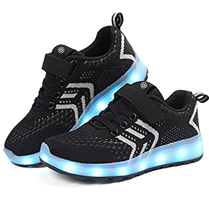 Axcer LED Light Up Trainers 7 Colors Flashing USB Charge Mesh Breathable Sport Running Shoes Gymnastic Tennis Sneakers Best Gift for Boys and Girls Birthday 7