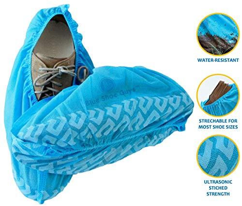 Copriscarpe e scarponi monouso blue shoe guys | confezione da 100 resistente, antiscivolo, riciclabile, per interni / esterni (di grandi dimensioni per la maggior parte)