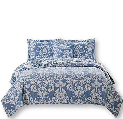 Dada Bettwäsche Kollektion Elegante Enchanted Breeze Quilt, Patchwork Tagesdecke Set, Floral Victorian, Licht Blau & Weiß, 2-3-teilig, Polyester-Mischgewebe, blau, Queen -