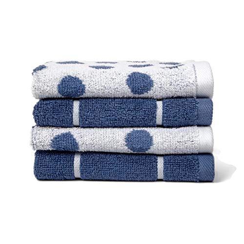 Project 62 Waschlappen-Set, 100% Frottee, gewebt, Blau, 4 Stück -
