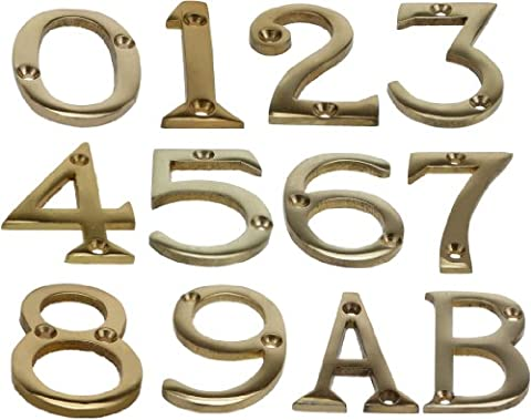 Brass House Door Number Numeric Digits Plate Plates Plaque Gold Sign - 2 Inch (5)