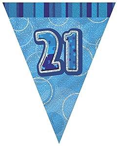 Unique Party Banderines de 21 cumpleaños Color azul Edad (92082