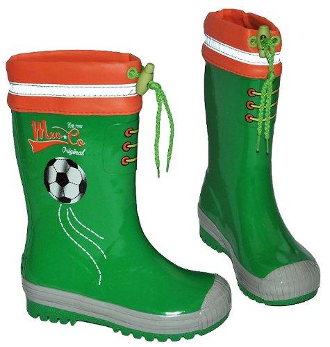 Unbekannt Gummistiefel Fußball Sport grün - mit Reflektor + zum Schnüren - Größe 31 - für für Kinder Jungen - Naturkautschuk - Fussballer Ball Fussball