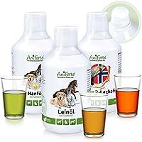 AniForte Barf-Öl Set 3 mit je 500ml Lachsöl, Leinöl und Hanföl – Naturprodukt für Hunde und Katzen