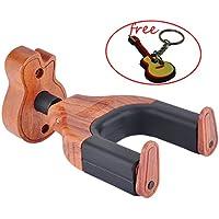 Gitarren-Haken, automatische Verriegelung Gitarre Aufhänger Gitarren-Ständer mit Design-Gitarre, Holz, Fit-Gitarre Musikinstrumente. Auto Lock - Guitar Shape Wood Base