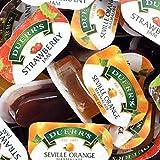 48 Assorted Duerr's Jam Individual Mini Pots 20g Per Pot - Strawberry, Orange and Blackcurrant