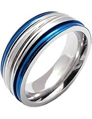 KONOV Joyería Anillo de hombre mujer, Compromiso, Boda, Amor, Acero inoxidable, Color azul plata (con bolsa de regalo)