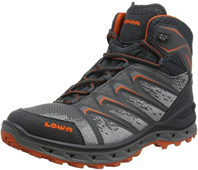 Lowa Herren Aerox GTX Mid Trekking  Wanderstiefel  Blau/Rot  44 EU