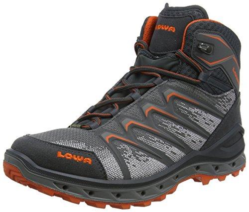 Lowa Herren Aerox GTX Mid Trekking-& Wanderstiefel, Grau (Graphit/orange 9728), 42.5 EU