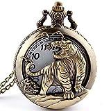Taschenuhr mit, mit Quarz-Uhrwerk und Halskette, cooler Stil, antiker Stil, hohl, Bronze