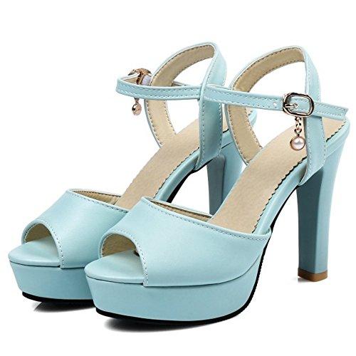 COOLCEPT Damen Mode Knochelriemchen Sandalen Peep Toe Singback Plateau Blockabsatz Schuhe Blau