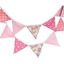 Guirnaldas de tela de algodón de 3,3 m 12 triángulo banderas banderín cara doble bandera bandera para decoraciones de fiesta de cumpleaños boda