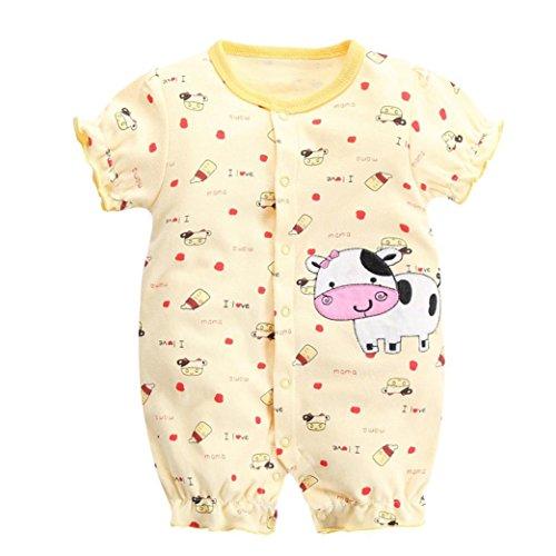 ? Amlaiworld Baby Baumwolle AFFE Kühe drucekn t-Shirt Bodys niedlich säugling Mode Bluse Strampler Strand Oberteile mädchen Gemütlich gestreift Spieler, 0-12 Monate (9 Monate, Gelb)