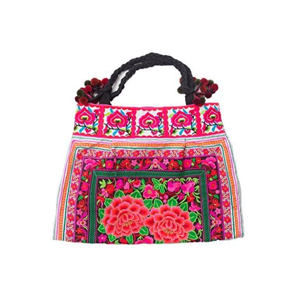 Changnoi Flower Handmade Embroidered Beach Tote Boho Bag from Thailand - handmade-bags