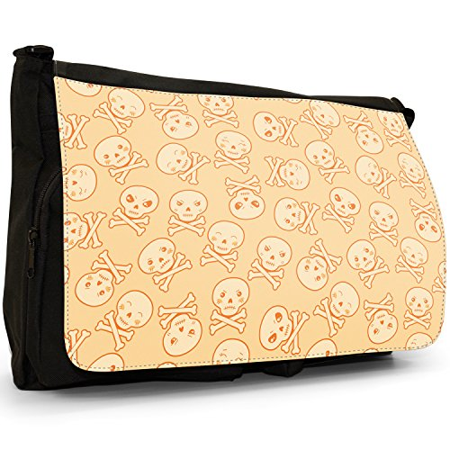Kawaii Cupcake caramelle teschi Cuori Gatti Grande borsa a tracolla Messenger Tela Nera, scuola/Borsa Per Laptop Loveable Kawaii Monster Skulls