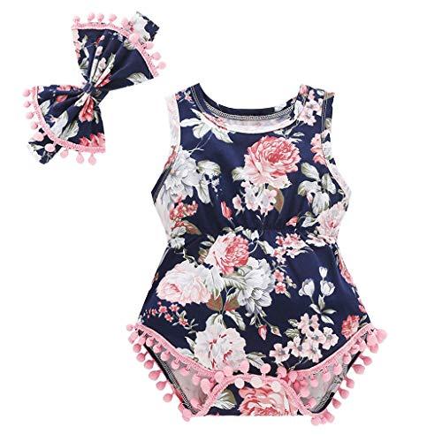 sunnymi  ® 0-24 Monate Baby Strampler + Stirnband Jungen Mädchen Floral Quasten Bodysuit Outfits Set (Halloween-outfits Monate 0-3)