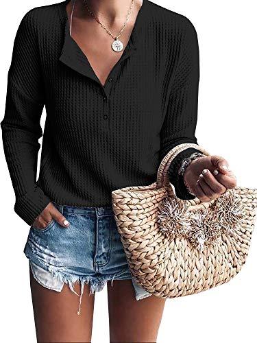 Ybenlover Damen Henley Shirts V-Ausschnitt Langarm Button Down Tops Stricken Knit Warm Tees -