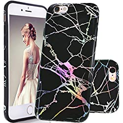 DOUJIAZ Coque iPhone 6 6S, Housse Brillant de Protection, Ultra-Mince Glitter Paillette TPU Silicone Souple Coque pour iPhone 6/6S (Série Marbre,Shiny Rose Gold/Black)