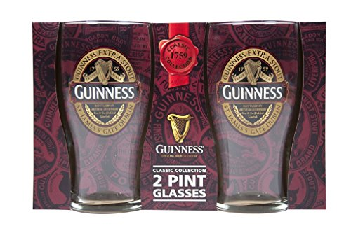 Guinness 2 Pack Pint Gläser - Ruby Rot Collection New für 2017