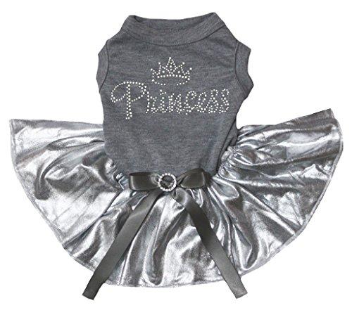 petitebelle Strass Krone Prinzessin Kleid Baumwolle Shirt Bling Silber Hund grau (Princess-hund-tank)