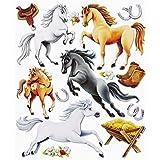 Stickerkoenig Wandtattoo 3D Sticker Wandsticker - niedliche Pferde XXL Pferd Hufeisen Stiefel #565 Kinderzimmer Deko auch für Wände, Fenster, Schränke, Türen etc auf Bogen