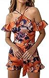 ECOWISH Damen Sexy Kurz Jumpsuit Blumen Rüschen Strand Overall Träger Hosenanzug Playsuit mit Gürtel Orange XL