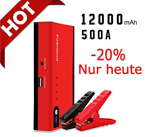 Jump Starter 600A Peak 12000mAh Auto Starthilfe Tragbare With SOS Taschenlampe und USB Ladeausgang