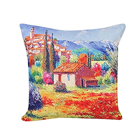fineshow Colorful Scenery Muster Schlafcouch Home Decor Kissenbezug, Baumwollstoff, 2, 45 cm*45 cm