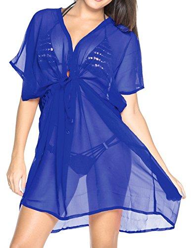 La Leela bloße Chiffon feste plus und eine Größe vertuschen Kaftan hyper blau Badebekleidung Strand-Bikini-Vertuschung Tunika StrabdKleid kaftan Cover up (Womens Licht Genial)