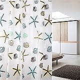 Auralum® Cortinas baño de ducha Tela 180 X 180 cm Poliéster PEVA Impermeable y Antimoho con 12 Anillos (fijación sin perforar)Multicolor