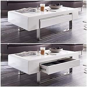 couchtisch wei hochglanz mit schublade case 120x60x38cm wohnzimmertisch k che. Black Bedroom Furniture Sets. Home Design Ideas
