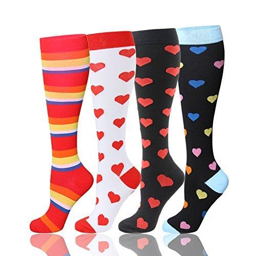 hltpro Abgestufte Kompression Socken für Frauen & Männer 20–30mmHg–1/2/4Paar Best Kompressionsstrümpfe für Laufen, Crossfit, Reisen, Krankenschwester, Mutterschaft, Schwangerschaft, tibiakantensyndrom, Damen, 4 Pairs,Mix Heart, S/M