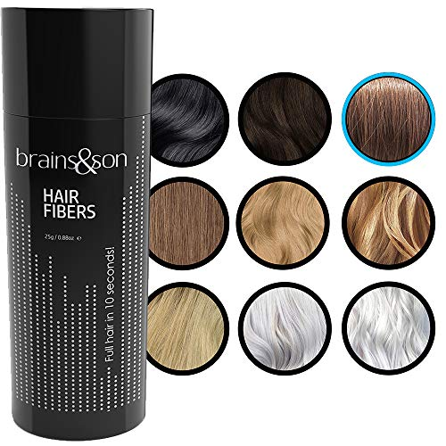 brains&son Streuhaar - Premium Haarverdichtung/Schütthaar mit Soforteffekt bei Geheimratsecken, Haarausfall und lichtem Haar - Haarpuder | 25g (Braun)