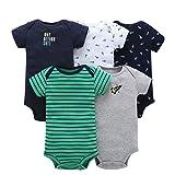TUDUZ 5 Stücke Neugeborenes Baby Jungen Mädchen Print Kleidung Täglichen Spielanzug Playsuit Jumpsuit für 0-24 Monate (F, 0-6 Monate)