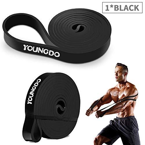 Youngdo Fitnessbänder, Widerstandsband Set mit Tasche und 4 Stärken und 5 Farben (Schwarz 25-65 Pfund) -