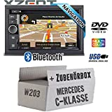 Mercedes C-Klasse W203 - Autoradio Radio Xzent X-302BT-MK2 | 2-Din Navigation Bluetooth USB CD DVD Touchscreen TFT Navi Europa 47 Länder HDMI Einbauzubehör - Einbauset