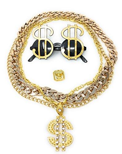 Daddy Kostüm Puff - BABO Lude Macho Prolethen Hiphop Rapper Sets 4 bis 5 teilig Ketten Brille Ring (Dollarbrille-Dollarkette)