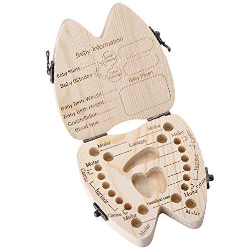 Mogoko baby Kinder Original Holz Haar Milchzahndose Milchzähne Zähne box Kasten mit Englisch Text Souvenir Aufbewahrungsbox Zahn Stil