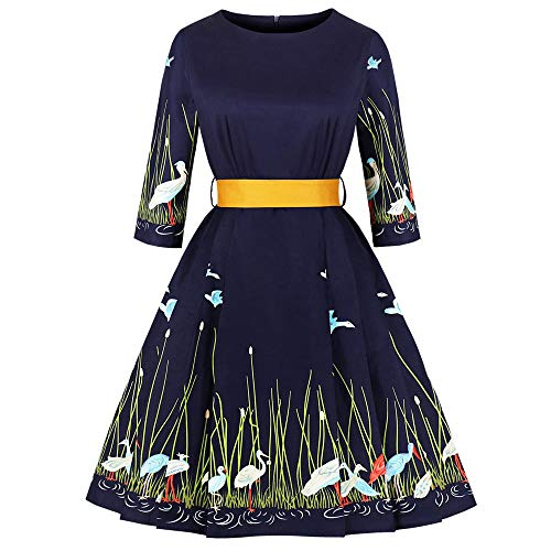 HuaMore Frauen Kleid Print DREI Viertel Sleeve Abend Party Kleider Swing mit Gürtel