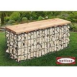 Bellissa Gartenbank Gabione L100xB30xH46 cm Sitzfläche Holz