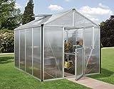 Gartenwelt Riegelsberger Gewächshaus Zeus - Ausführung: 8100 HKP 10 mm Alu, Fläche: ca. 8,1 m², mit 2 Dachfenster, Fundamentmaß: 2,66 x 3,24 m
