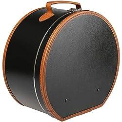 Lierys étui à chapeau rond noir - 40 cm x 21 cm - boîte à chapeau avec imitation cuir - avec serrure - valise pour les chapeaux - également comme décoration pour l'appartement