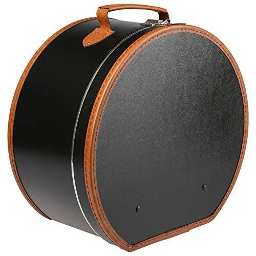 Lierys runder Hutkoffer schwarz - Maße: 40 cm x 21 cm - große Hutschachtel aus Kunstleder - Hutbox zur Aufbewahrung mit Tragegriff und Klappverschluss - Koffer für Hüte - auch als Deko für die Wohnung -