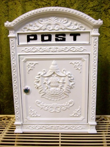 Antikas - Briefkasten London weiß aus Alu wie historisch englischer Wandbriefkasten
