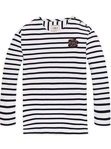 Scotch & Soda R´Belle Mädchen T-Shirt Breton Sleeve Longer Length Tee, Mehrfarbig (Combo D 24), 176 (Herstellergröße: 16) (Tee Feine Fit Mädchen)