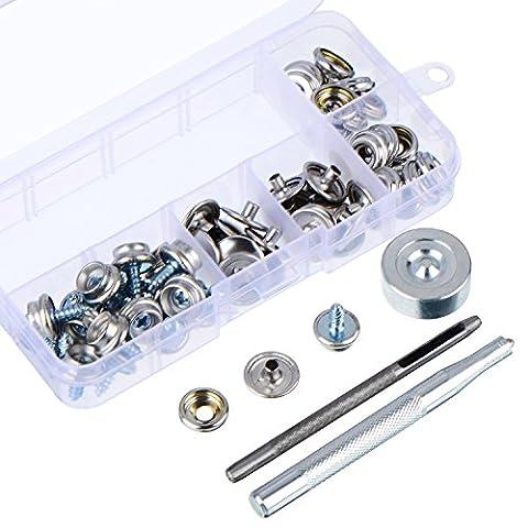 Outus Leinwand Druckknopf Schraube 3/ 8 Zoll Boot Verschluss Schraube Ersatz-Kit 20 Set mit der Einstellung Werkzeuge 3 Stücke und Aufbewahrungsbox